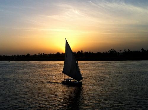 Solnedgång över Nilen.